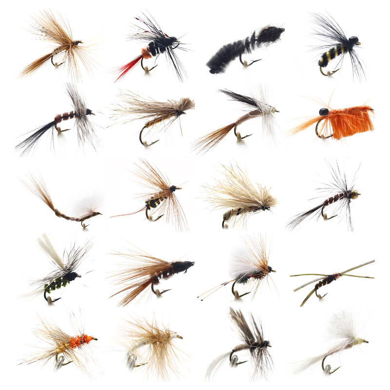 32 Pcs//Box Fly Fishing Baits Feather Salmon Lure Dry Flies Insects Trout Nymphs