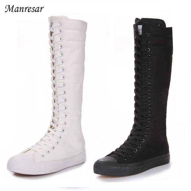 ff09f2f384fd3 2017 Fashion Women Boots Canvas Lace Up Zip Knee High Boots Women boots  Flat Casual Tall Punk Shoes White Black Plus Szie 35-43