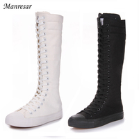 2017 Fashion Women Boots Canvas Lace Up Zip Knee High Boots Women boots Flat Casual Tall Punk Shoes White Black Plus Szie 35 43