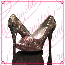 Aidocrystal Pink with sequins peep toe women high heel shoes for party