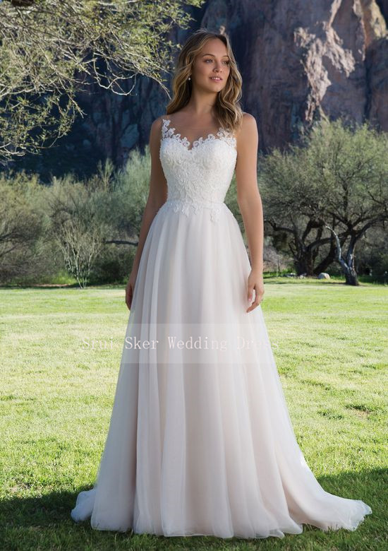 Image 2 - Hot Sale Tulle Wedding Dress A Line Gown with Scoop Lace Neckline Sleeveless Bridal Gowns 2019 V Back-in Wedding Dresses from Weddings & Events