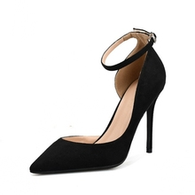 Comfort Pumps New Women Black High Heels Ankle Strap Summer Casual Buckle Slip-on Shoes Plus Size J0044