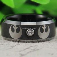 Free Shipping USA Canada Russia Brazil Hot Sales 8MM Black Silver Bevel&CZ Stone Star Wars REBEL ALLIANCE Tungsten Wedding Ring