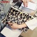 KEENICI Luxury Winter Women's Leopard Bags Rabbit Fur Clutch Bag Plush Envelope Handbags With Pearl  Evening Bag Lady Bolsas