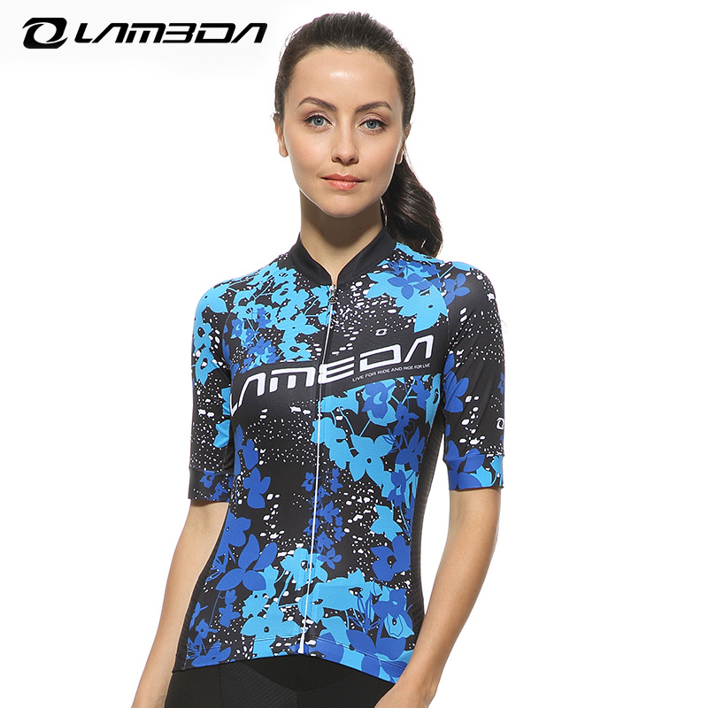 LAMBDA Cycling Equipment Cycling Jersey Women Short Quick Dry Breathable Jersey Summer For Bicycle Full Zipper Cycling Jersey