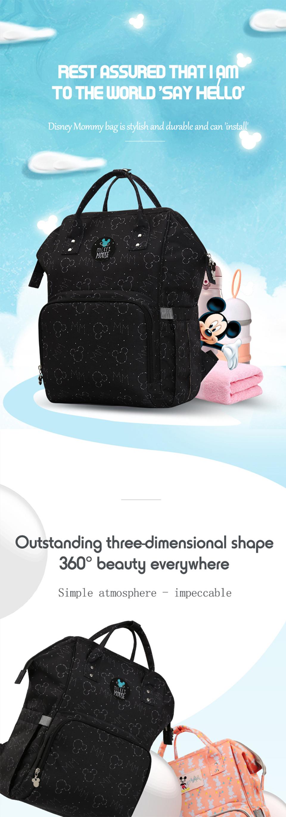 Disney Baby Diaper Bags USB Heating waterproof Maternity Nappy Diaper Stroller Bag Insulation Large Capacity Mochila Backpack