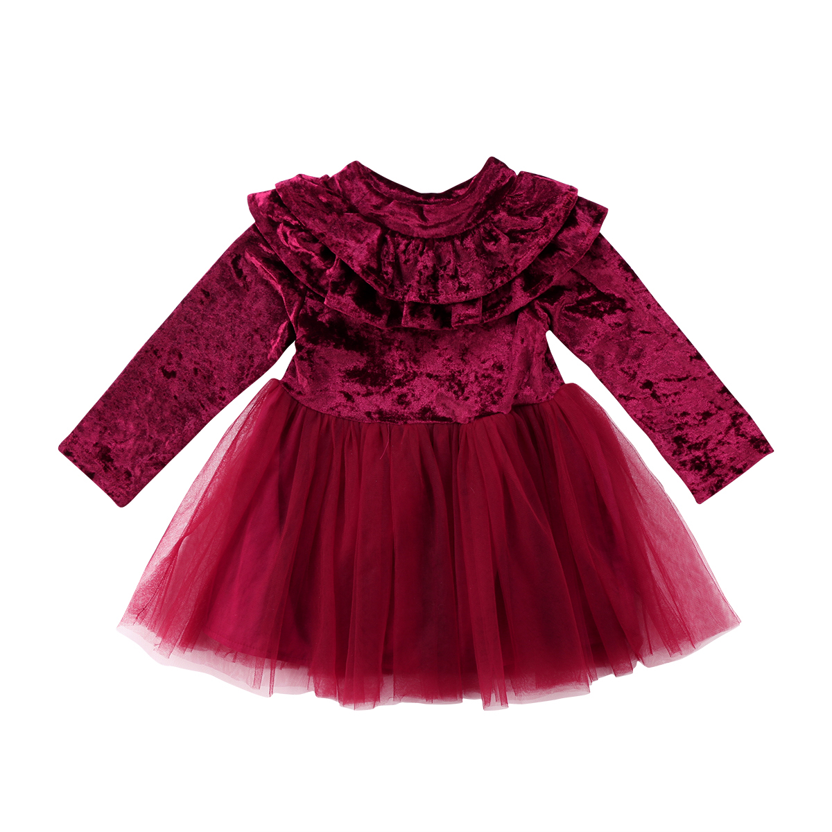 Princess Kids Baby Girls Dress Velvet Fleece Long Sleeve Midi Cute Tiered Tutu Party Ruffle Tulle Tutu Dresses Girl 1-6T ruffle trim tiered cami blouse