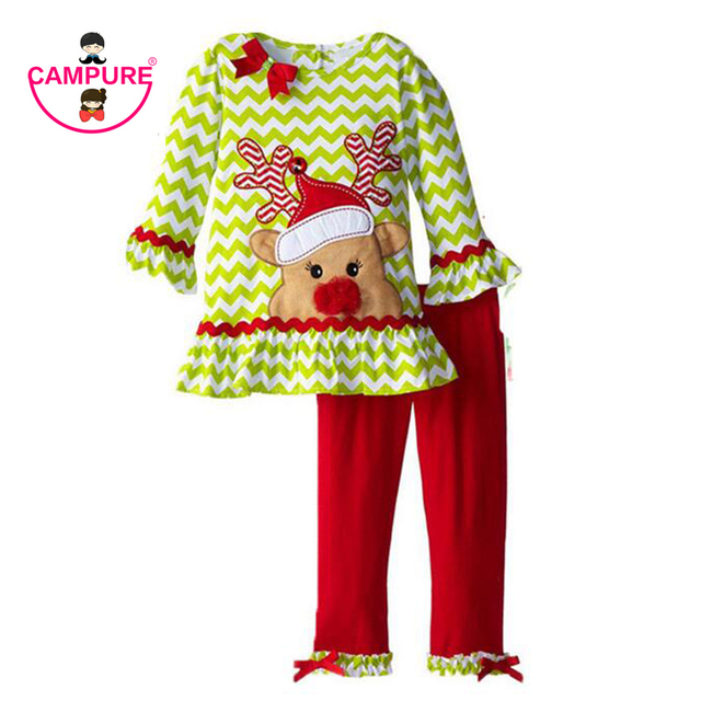 Kids 2016 Autumn Children Boutique Outfits Clothing Sets For Long-Sleeved Cartoon Fawn Little Girls Christmas Santa Ruffle Pants