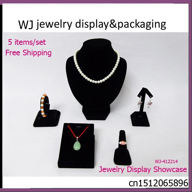 Superior Black Velvet Wooden Jewelry Display Set Mannequin Model Show Case For Ring Necklace Bracelet Earrings