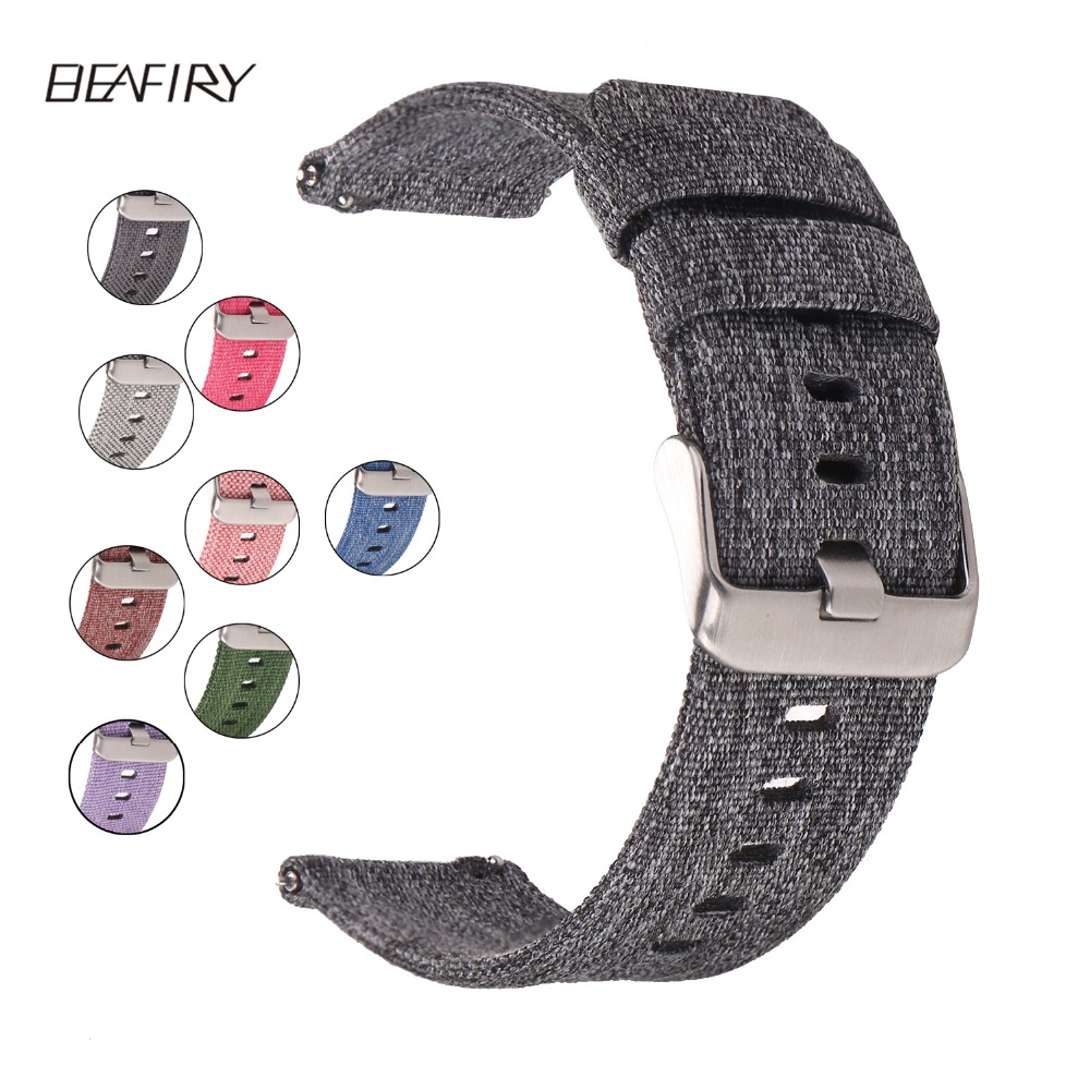 BEAFIRY Quick Release Strap Breathable Woven Nylon Watch Band  Lightweight  Canvas Watch  Straps 20mm 22mm 24mm Different Colors