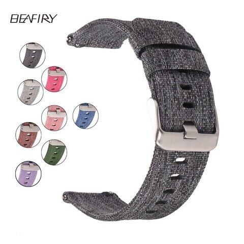 Pulseira de Relógio de Nylon Tiras de Lona Beafiry Tecido Respirável Leve 22mm 24mm Diferentes Cores 20mm