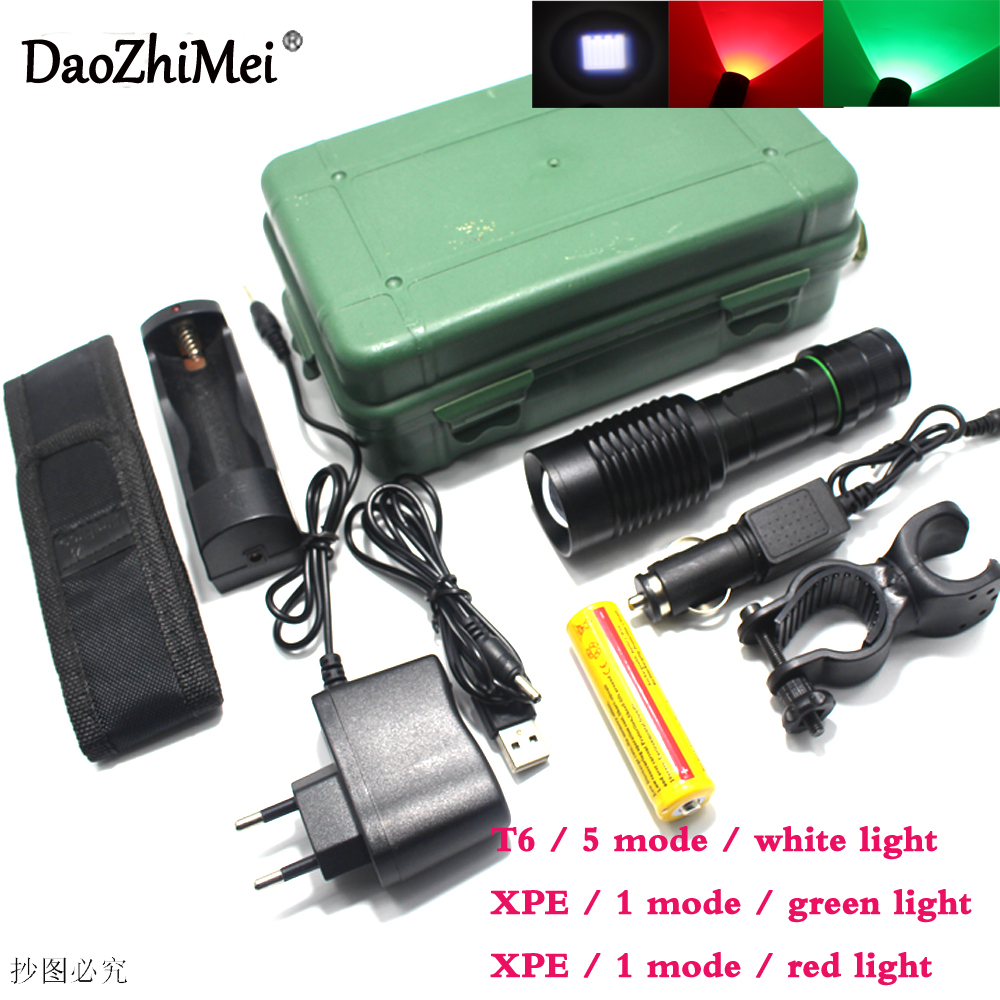 CREE XM-L T6 Zoom Green Red White LED Flashlight LED Zoom Focus Torch with 18650 Battery and charger+AC/ Car Charger+USB Torch 2 pics pack 3 light mode cree xm l t6 or xpe zoom mini led flashlight with adjustable focus working with 18650 li ion battery