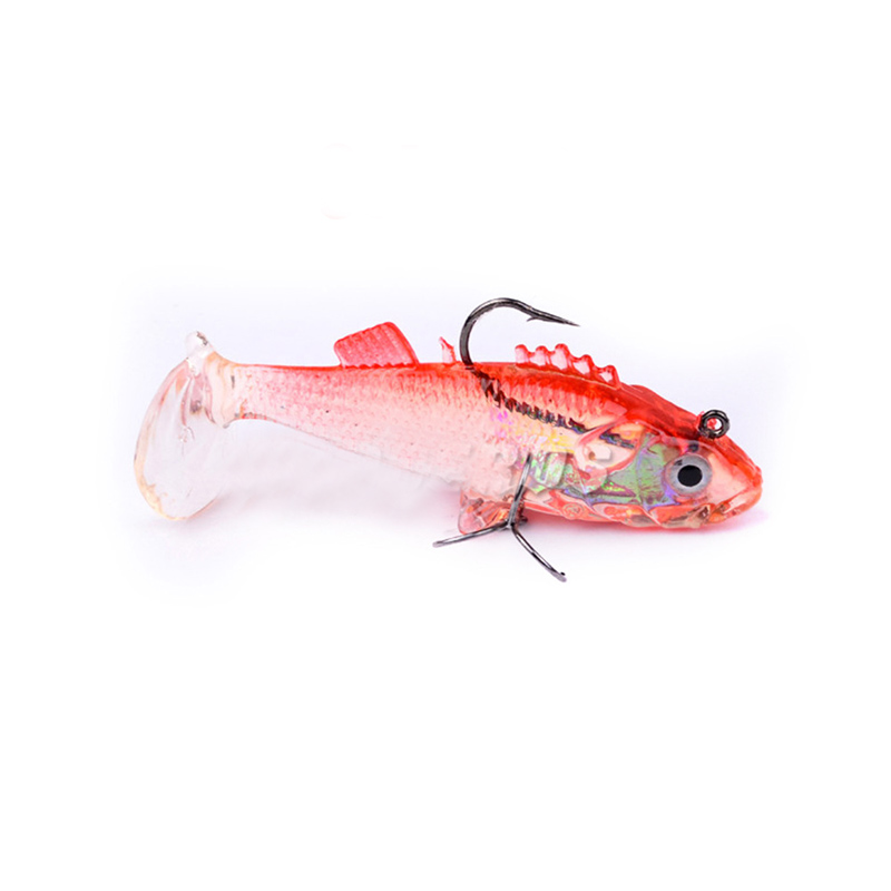 POETRYYI 7 6cm 15 7g Lead fish Long Tail Fishing Lure bass Soft bait Carp with Treble Tackle Hooks Fishing Accessories 30 in Fishing Lures from Sports Entertainment