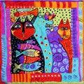 100% Шелковый Шарф Женщин Шарф Кот Шелковый Шарф Большой Платок 2017 Хиджаб печати Кошка Рыбы Среднего Квадратных Шелковый Шарф Wrap Hot Подарок для Леди