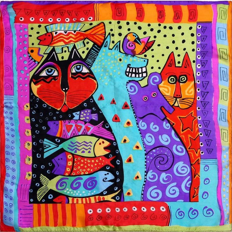 100% Silk Scarf Women Scarf Cat Scarf Silk Big Bandana 2019 Hijab Print Cat Fish Middle Square Silk Scarf Wrap Hot Gift for Lady