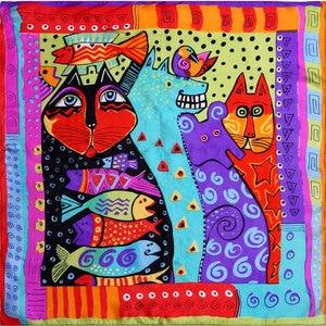 Image 1 - 100% Silk Scarf Women Scarf Cat Scarf Silk Big Bandana 2019 Hijab Print Cat Fish Middle Square Silk Scarf Wrap Hot Gift for Lady