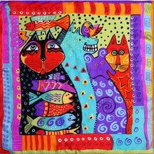 100% lenço de seda feminino lenço de gato lenço de seda grande bandana 2019 hijab impressão gato peixe médio quadrado lenço de seda envoltório presente quente para senhora