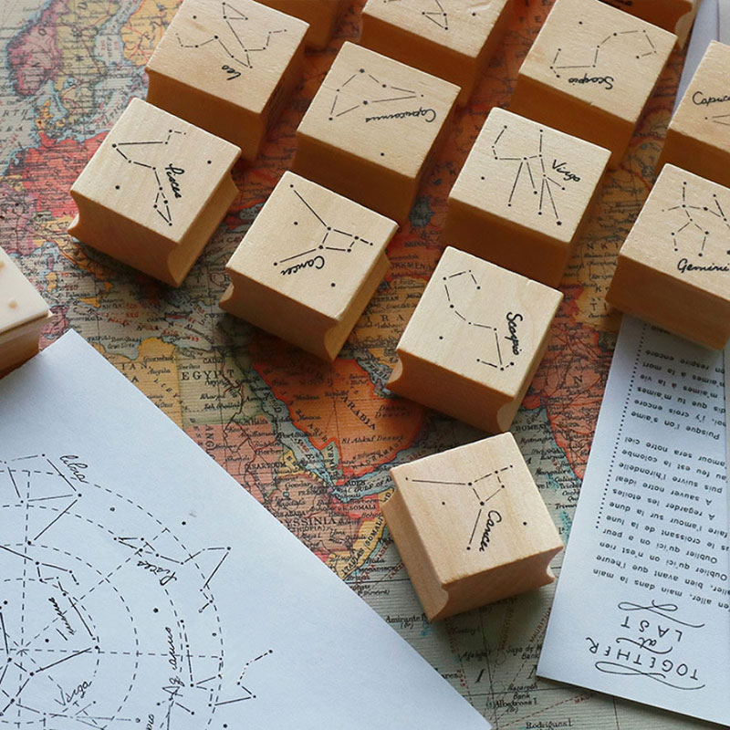 JWHCJ creative constellation series wooden stamp diy Handmadedecal stamps for scrapbooking diy stamps Photo Album Craft gifts jwhcj vintage cat date wood roller stamps for children diy handmade scrapbook photo album diary book decoration students stamps