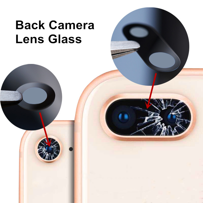 New Rear Back Camera Lens Glass Cover For IPhone 7 8 Plus With Adhesive Tape Replacement
