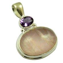 Lovegem натуральный розовый кварц и аметистовая Подвеска Серебро 925 пробы, 36,9 мм, MHBAP4666