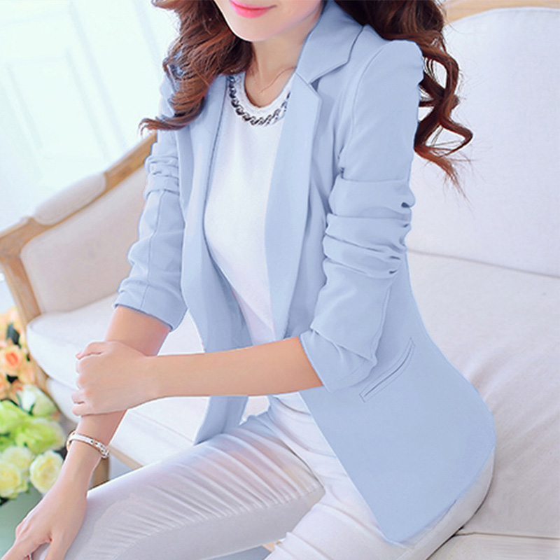 Spring Notched Women's Blazer Black White Office Lady Coat Long Sleeve Blazers Women 2020 Single Button Fashion Workwear Jacket