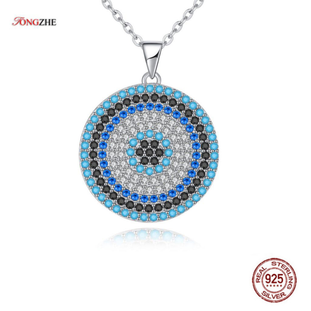 TONGZHE Sterling Silver 925 Necklaces Jewelry Round CZ Turkish Evil Eye Necklace Women Necklace Pendant Fine Jewelry Kolye Sale blue cz evil eye disco charm cz cross dainty silver chain girl women evil eye jewelry 925 sterling silver lucky eye necklace