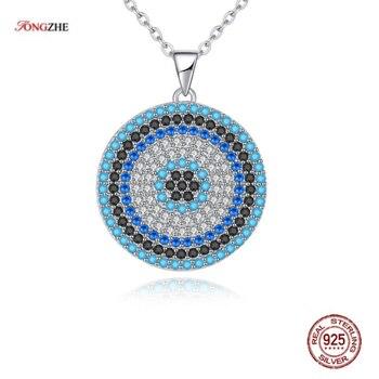 ee3bc4dc7425 TONGZHE de Plata de Ley 925 de joyas de collares redondo CZ turco mal de ojo