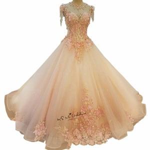 Image 5 - Женское винтажное свадебное платье, розовое фатиновое платье с жемчужинами и цветами, выполненное на заказ, 2018