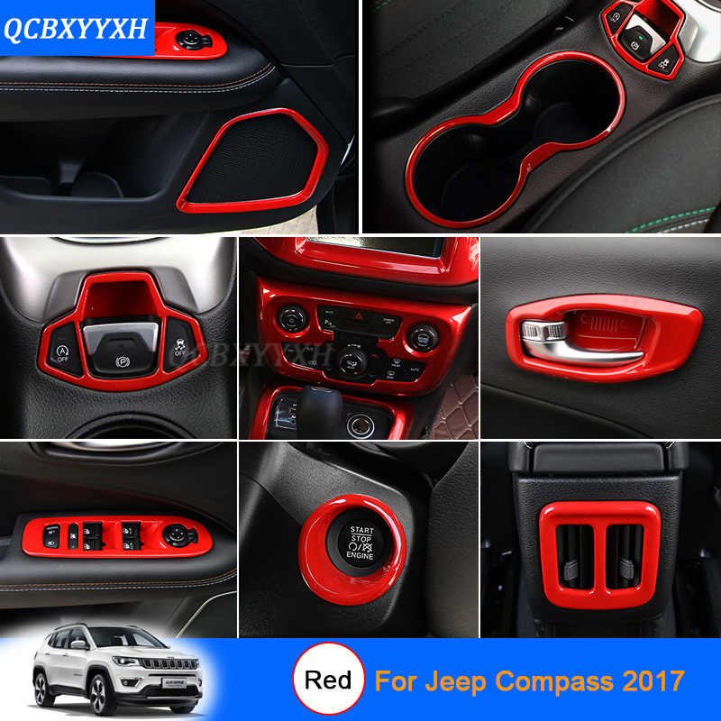 car styling red color for jeep compass 2017 car interior decoration sequins car sticker inner. Black Bedroom Furniture Sets. Home Design Ideas
