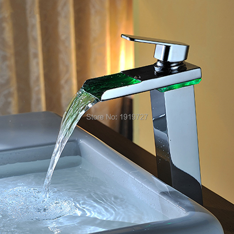 Brass Temperature Sensor Led Faucet 3 Color Water Double Handle Waterfall High Bathroom Tap Wash Tub