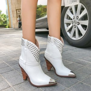 Image 4 - Punk shoes Microfiber leather Boots women metal rivets studded high quality Ankle Boots pointed toe middle heel botas mujer
