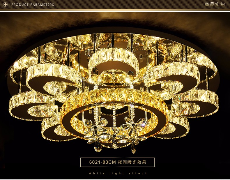Modern romantic K9 crystal ceiling light ring luxury LED 3 colors remote control 110 220V ceiling lamp Free Delivery in Ceiling Lights from Lights Lighting