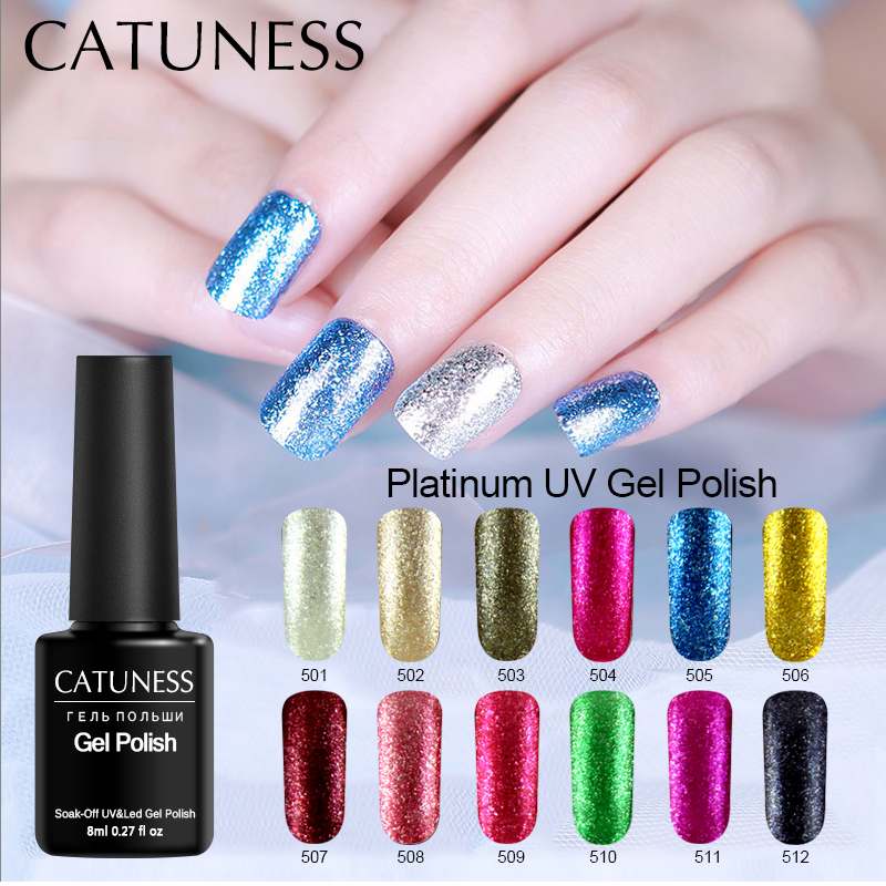 CATUNESS 2019 Newest Platinum Gel Nail Varnishes High Quality 8ml 12colors Nail Gel Glitter Sequins Colorful Gel Nail Polish