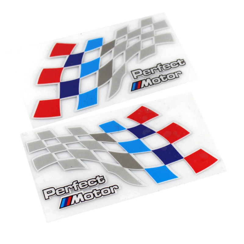2PCS Car-styling Perfect Motor Racing Reflective <font><b>Stickers</b></font> Body Window Decal For BMW 1 3 5 Series E46 E39 E90 E30 E36 F30 <font><b>F10</b></font> X5 image