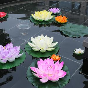 18cm Floating Lotus Artificial Flower Wedding Home Party Decorations DIY Water Lily Mariage Fake Plants Pool Pond Decor(China)