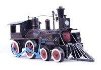 Fashion Personality Iron Handicraft Tin Vintage Car Locomotive Steam Engine Model Decoration