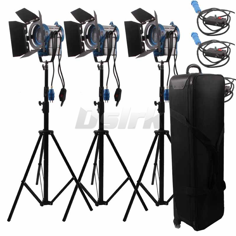 3 X 1000W Studio Fresnel Tungsten with dimmer control Spotlight Video Light Kit Lighting with Carry Case ashanks 3kits 800w dimmer switch studio video red head light kit bulb carry bag for video film light