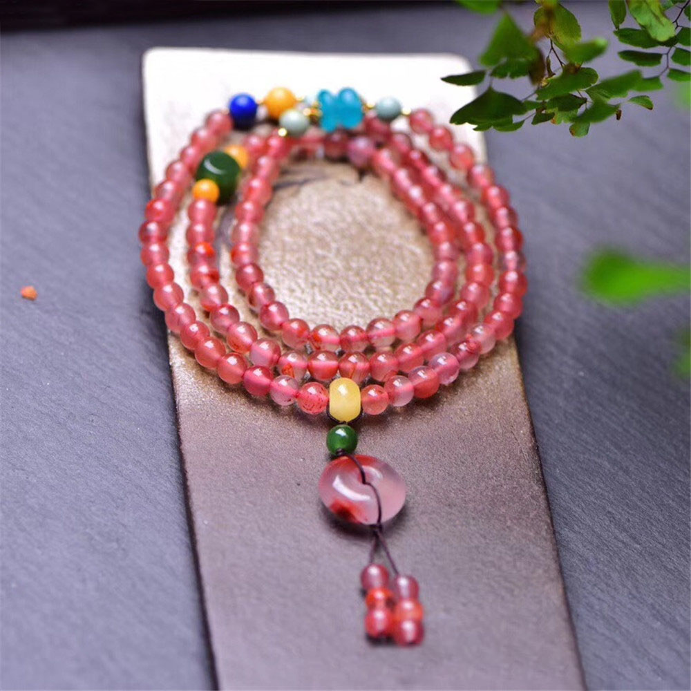 China Sichuan Liangshan 5A South Red Onyx Ice Floating Chain Bracelet Iychee Necklace Safe Buckle 108 Beads Bracelet for Female phase yutang gold silk nanmu hand string 108 south red braceletbuddha beads necklace male and female couple models