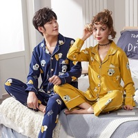 High Quality Lovers Pajamas Women 100% Cotton Cartoon Cat Long Sleeved Pajama Sets Men Pure Couple Pajamas For Men Set Sleepwear