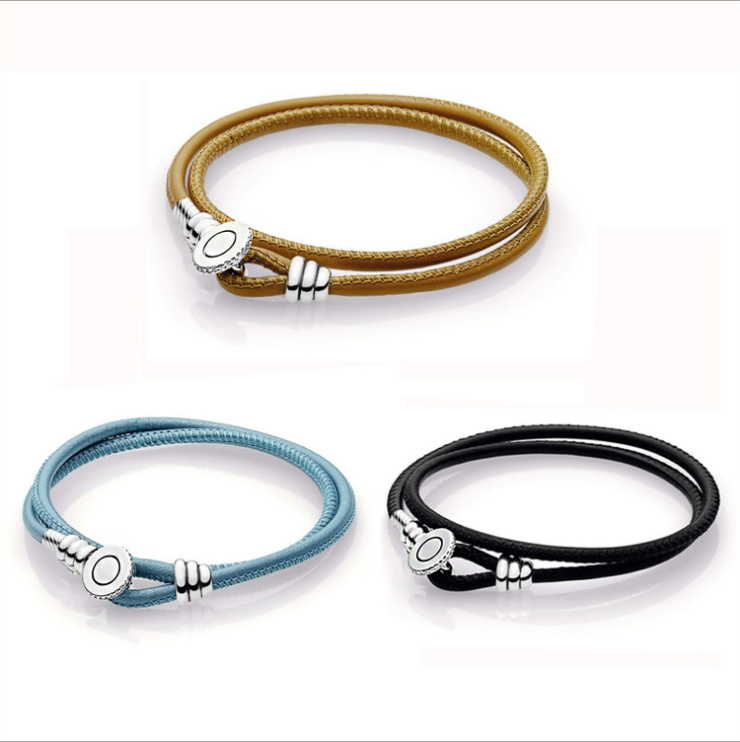 Authentic 925 Sterling Silver Moments Black Double Leather Bracelet With On Clasp Women Charm Pandora