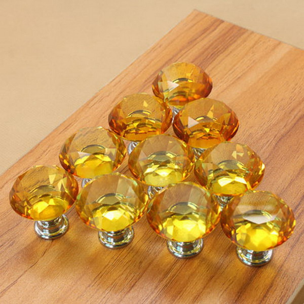 1LOT/ 10Pcs 30mm Diamond Shape Crystal Glass Knob Cupboard Drawer Pull Handle New  T15 люстра reccagni angelo l 6258 3