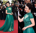 Green Short Sleeve High Neck Celebrity Dresses 2017 Tulle A-Line Lace Appliques Red Carpet Dresses robe de soiree Z551