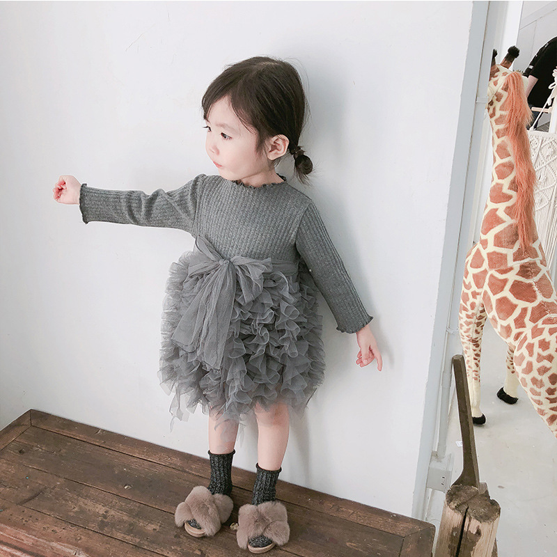 2019 Cotton Long Sleeve Knitted Kids Dresses For Girls Toddler Clothing Baby Girl Drees Tulle Patchwork Grey Pink White Spring 30