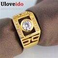 50% de descuento de moda anillo de compromiso de diamantes simulados oro plateado anillo de joyería de los hombres del banquete de boda anillos bijouterie uloveido jx005