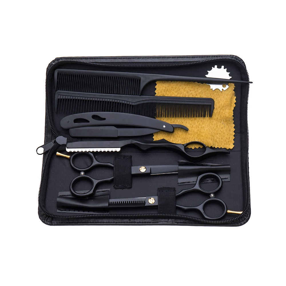 """scissors hair professional 5.5"""" sale black japan hair scissors teflon shears cheap hairdressing scissors barber thinning scissor"""