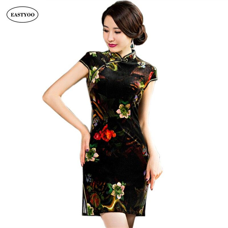 Flowers Velvet Cheongsam Women Short Sleeve Summer Qipao Slim