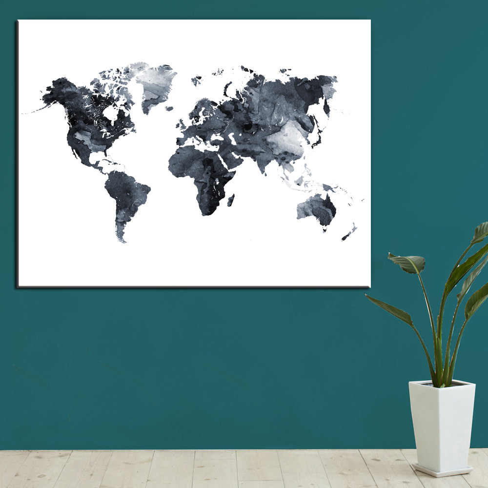 Watercolor World Map Canvas Painting HD Digital Printing Colorful Map Picture Wall Poster Decoration For Bedrooom