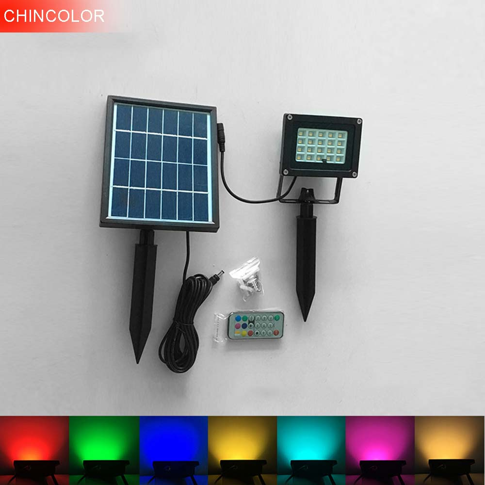 LED Solar remote wall Lamp colorful road light Security outdoor waterproof Spot Lighting IP65 Solar home decoration CHINCOLOR IQ-in Solar Lamps from Lights & Lighting    1