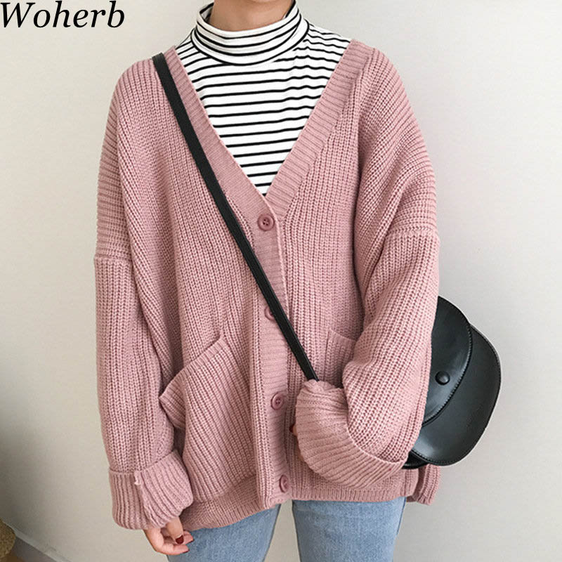 Woherb 2020 Korean Cardigan Women Loose Winter Sweater Jacket Ladies Kawaii Knitting Coat Jumper Chaqueta Mujer 20344