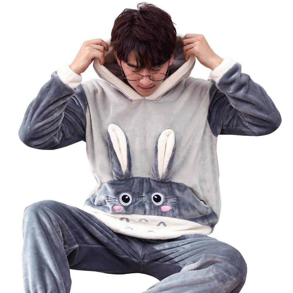 Autumn And Winter Men Lover Thick Flannel Pajamas Sets Plus Size S-4XL 5XL 6XL  Sleepwear Women Cartoon Coral Fleece Lounge Set